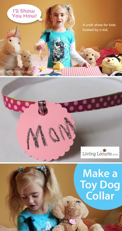 Stuffed Animal Pet Collar Kids Craft. Cute kids paper craft for stuffed animals. Craft Show for Kids at LivingLocurto.com