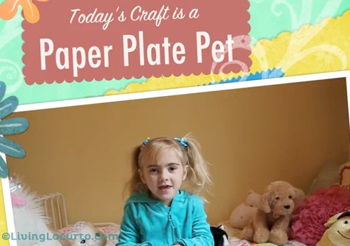 Paper Plate Pet Craft - Craft Show for Kids with Free Printable Animal Faces Coloring Sheets. LivingLocurto.com