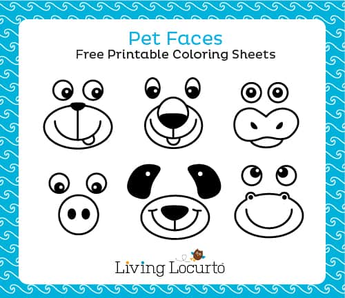 Pet Faces Free Printable Coloring Sheets for Making Paper Plate Animals at Livinglocurto.com