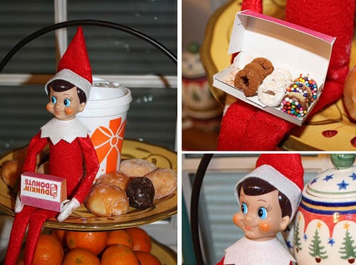 25 of the BEST Elf On The Shelf Ideas! Find fun posing ideas for moving your elf, cute free printables, arrival ideas. Elf on the Shelf With tiny Dunkin Donuts box and doughnuts.
