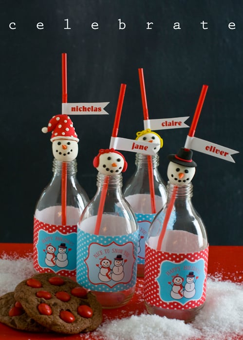 Plan a Holiday party with Free Snowman Party Printables, Gift Tags and a cute craft to make your celebration more festive this Christmas season! by @livinglocurto