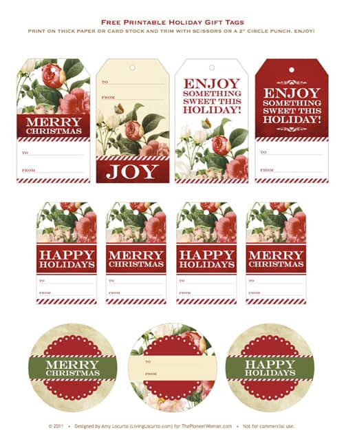 The Pioneer Woman Holiday Food Network Show Gift Idea. Get the Free Printable Gift Tags by LivingLocurto.com
