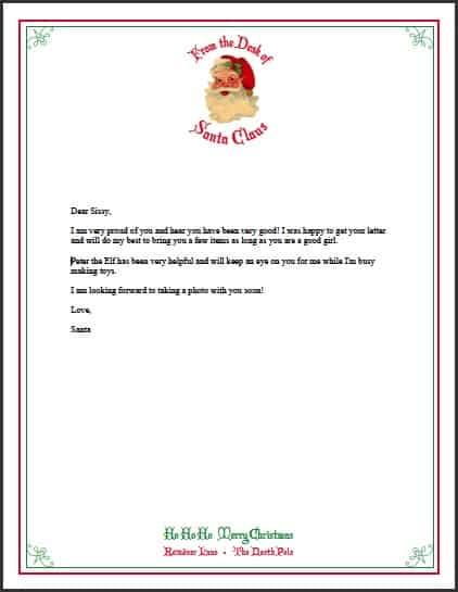 Letter from Santa Free Printable Stationary