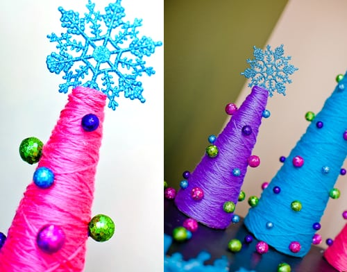Yarn-wrapped Christmas trees