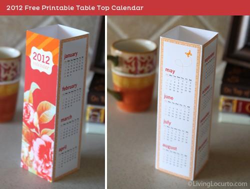 2012 Free Printable Desktop Calendar