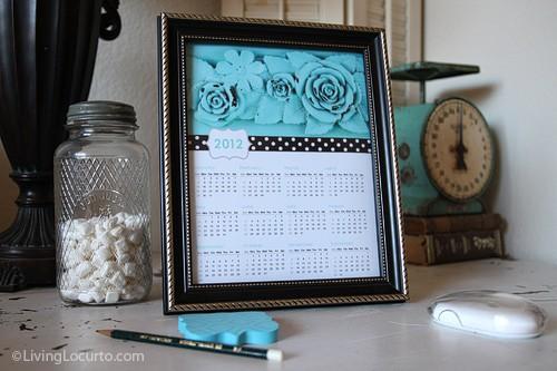 Free 2012 Vintage Floral Calendar