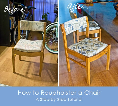 How To Reupholster A Chair StepbyStep Photo Tutorial - Reupholster dining chair