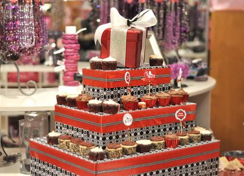 DIY Cupcake Stand - Black & Red Damask Fashion Birthday Party