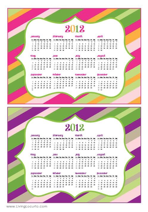 Free Printable 2012 Calendars