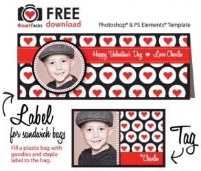 Free Valentine's Day Photoshop Template for Classroom Valentines
