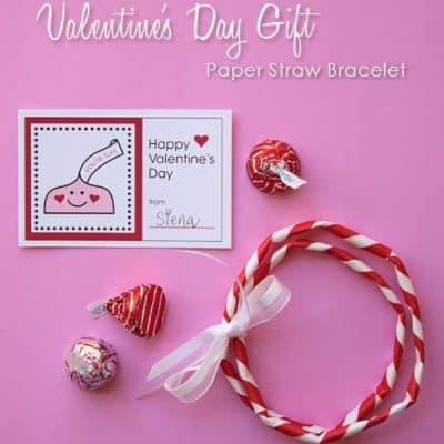 Paper Straw Bracelets & Free Printable Valentines