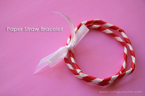 Paper Straw Bracelet & Free Printable Valentines day Tag