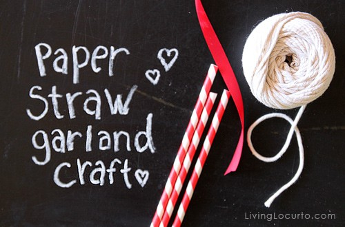 Paper Straw Valentines Day Garland Craft