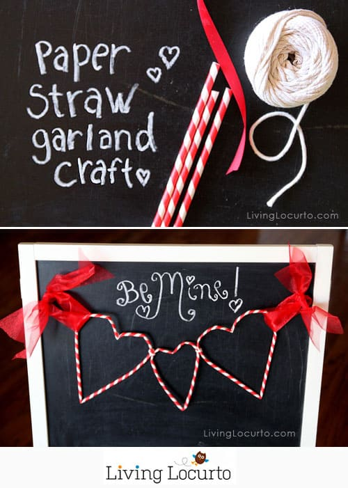 Paper Straw Heart Garland - Cute Valentines Day DIY Craft Tutorial. Holiday Home decorations. LivingLocurto.com