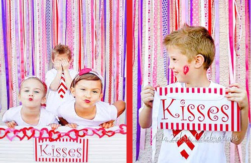 Valentines Day Party Ideas with Cute Free Party Printables. Kissing Booth