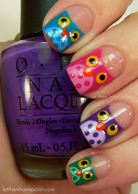 Owl Finger Nails Tutorial