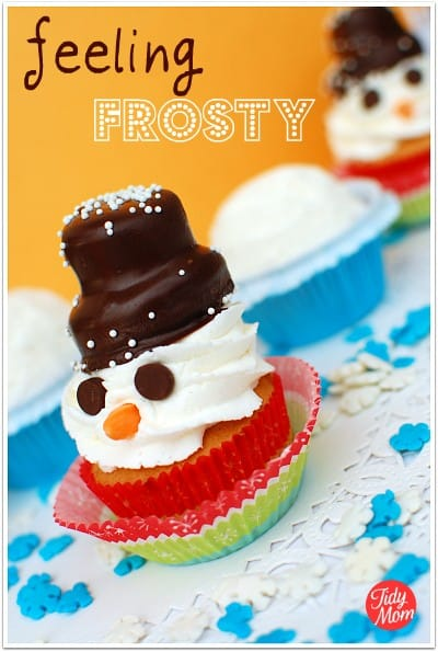 snowman cupcakes - winter cupcake recipe ideas