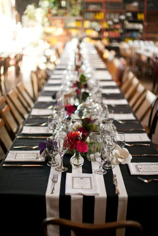 black and white striped table runner Party ideas