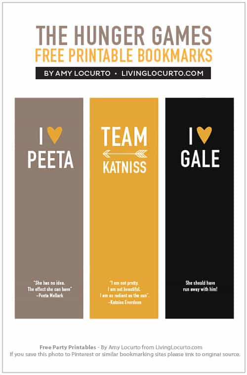 the hunger games bookmarks {free printable} - living locurto