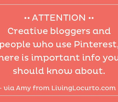 Information for Bloggers and People Who Use Pinterest