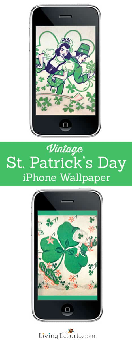 Vintage St. Patricks Day Free iPhone Wallpaper. Free download at LivingLocurto.com
