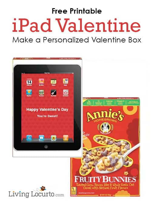 Make a personalized Valentine's Day Card Holder with a Free Printable iPad Valentine and a cereal box! LivingLocurto.com