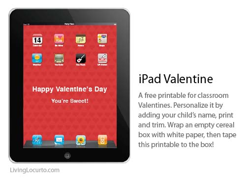 Free Printable iPad Valentine Box by Amy Locurto at LivingLocurto.com