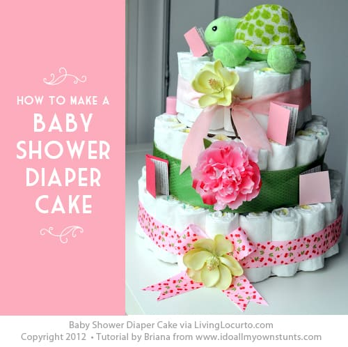 How to make a Baby Shower Diaper Cake Tutorial. LivingLocurto.com