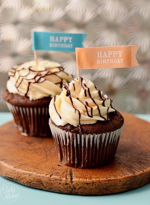 Bailey's Choc and caramel Birthday Cupcakes