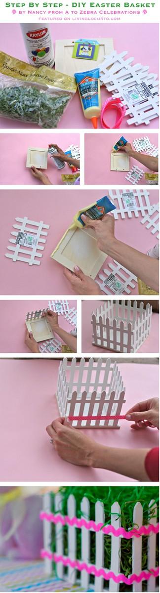 Easter Basket Picket Fence Craft Tutorial. LivingLocurto.com