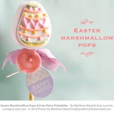 Easter Egg Marshmallow Pops   Free Printables