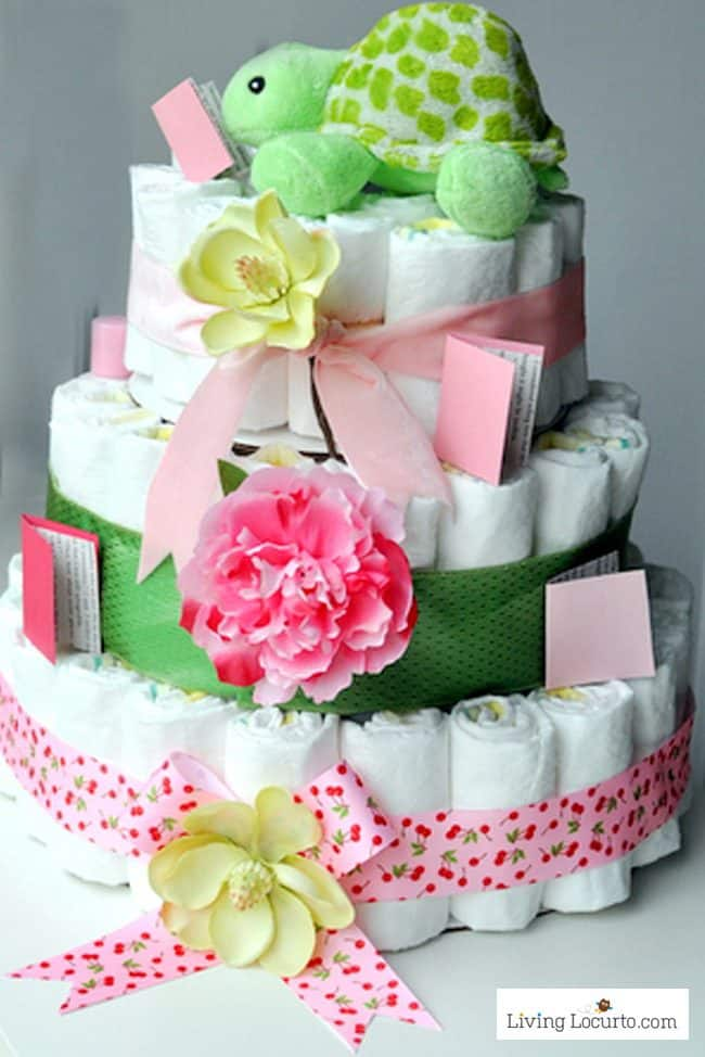 How to make a diaper cake for a baby shower. Cute book worm themed party idea.
