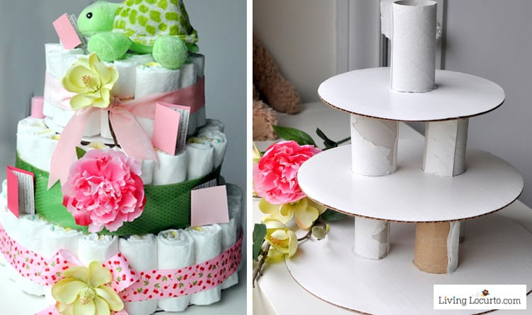 How to make a diaper cake easy baby shower craft for Diaper crafts for baby shower