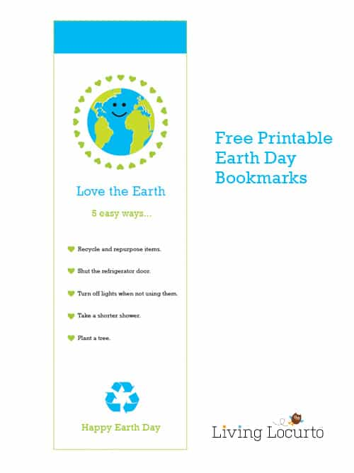 Free printable Earth Day Bookmarks are great gifts to hand out on Earth Day! They include five simple tips to help kids learn about how they can help love the earth. Perfect for classrooms or handing out to friends. #earthday #bookmarks #freeprintables #teacherlife #printable