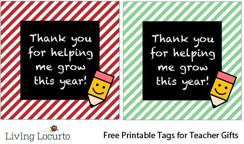 Teacher Gift Idea - Free Printable Tags
