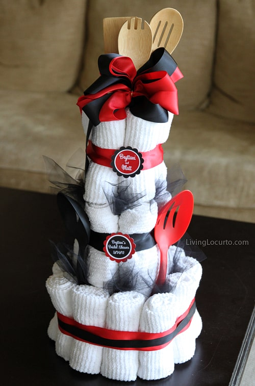 Bridal shower towel cake living locurto bridal shower towel cake altavistaventures Gallery