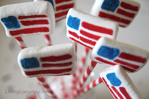 American Flag Marshmallow Pops - Easy Edible Craft LivingLocurto.com