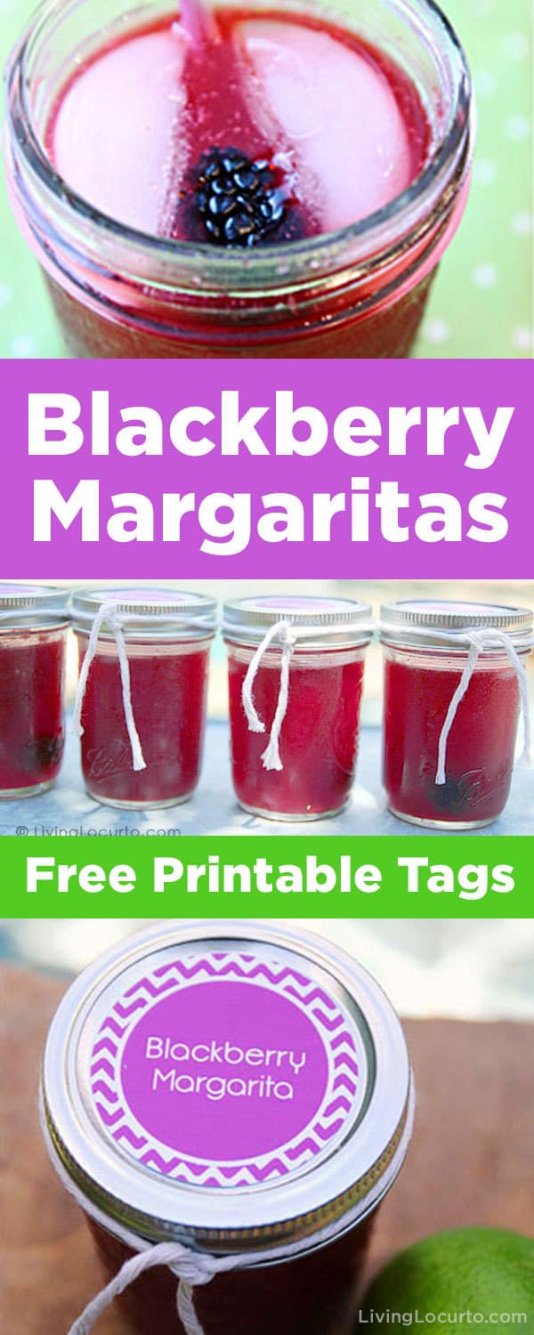 Easy Blackberry Margaritas Recipe in a Jar! This fun margarita drink recipe comes with Free Printable Tags perfect for a party! Easy summer cocktail and fun drink in a Jar Party Cocktail Idea. #drinks #margaritas #blackberry #cocktails #recipe #easyrecipe #masonjar #summer #partyideas #partydrinks #printables