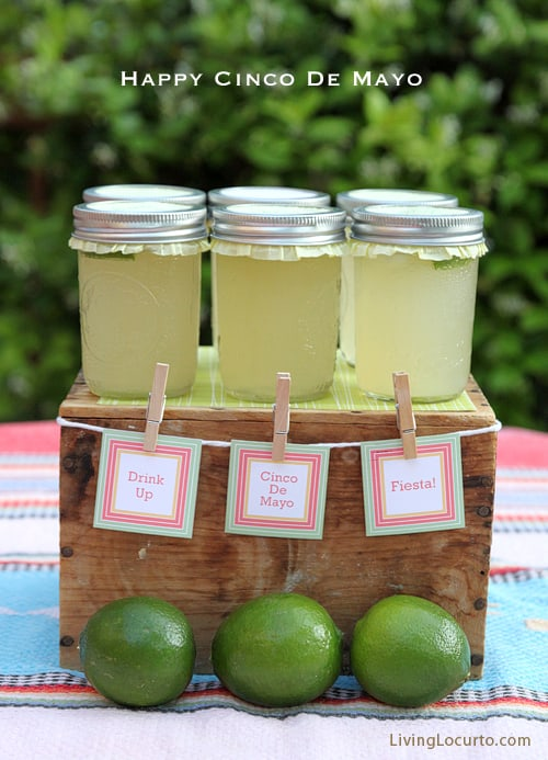 Cinco de Mayo Party Ideas - Easy Beer Margarita Recipe in a Jar and Free Printables.