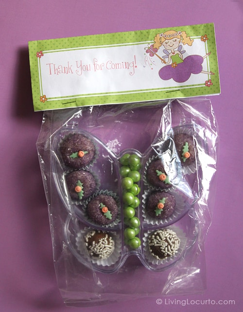 Butterfly Mini Cake Balls - Fairy Party Favor - Party Printables