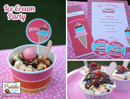 Ice Cream Party Ideas - Ice Cream Sundae Cupcakes