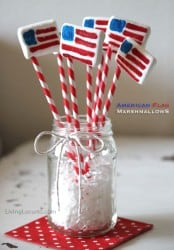 American Flag Easy Marshmallows - Living Locurto - Red, White & Blue 4th of July Dessert