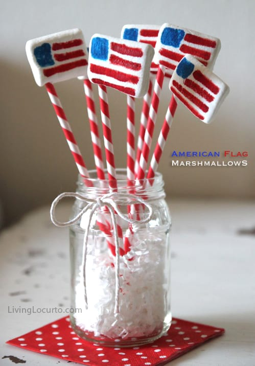 5 Favorite Crafts and Recipes for Summer! American Flag Marshmallow Pops - Living Locurto - Edible Craft
