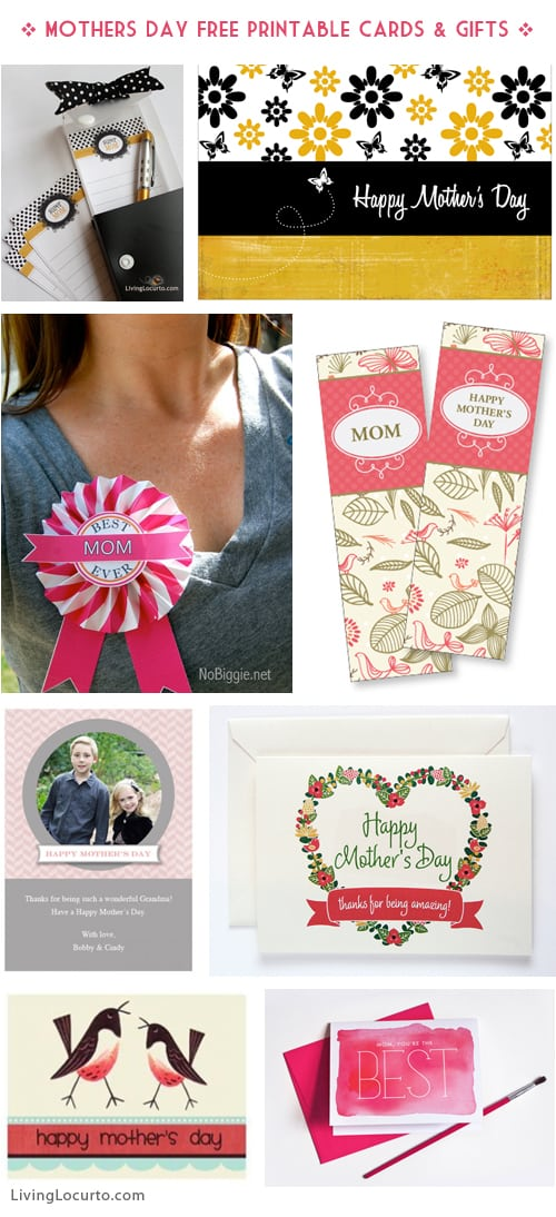 Mothers Day Free Printable Cards - DIY Gifts - Last minute