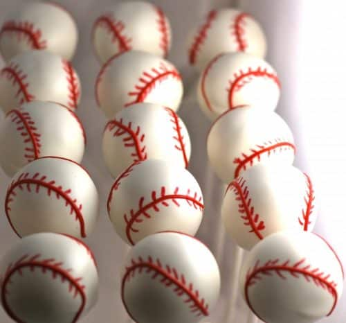 Baseball cake pops. These creative Summer Cake Pops are perfect birthday or pool party desserts. From beach balls and sharks to lady bugs and crabs, enjoy these cute fun food ideas for cake pops!