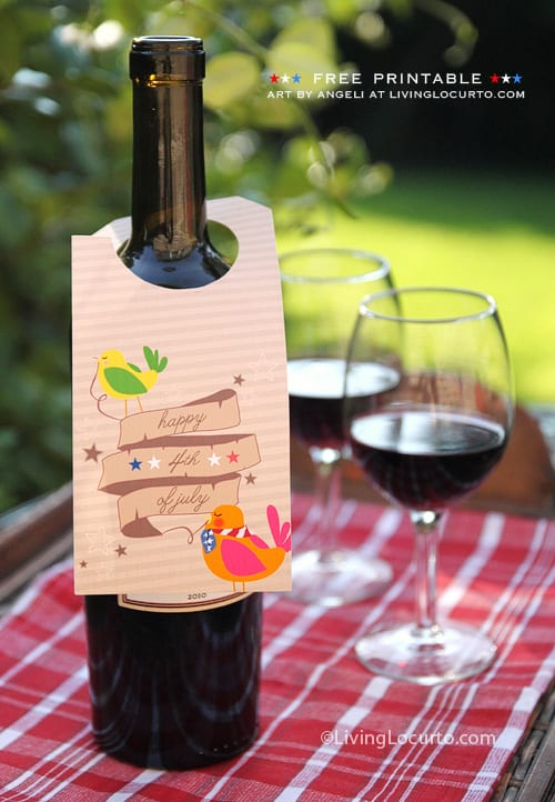 Free Printable Wine Tag for July 4th - Living Locurto