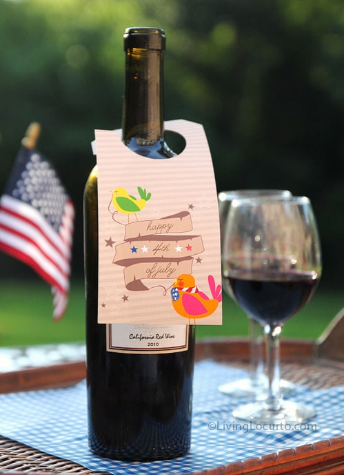 Free Patriotic Party Printable Tag for July 4th - Living Locurto - Wine Bottle Label