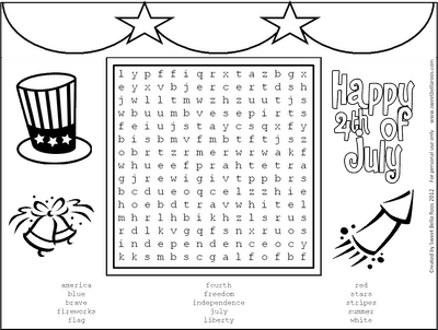 4th of July Free Printable Word Search By Sweet Bella Roos - Coloring Sheets #LivingCreative Thursday