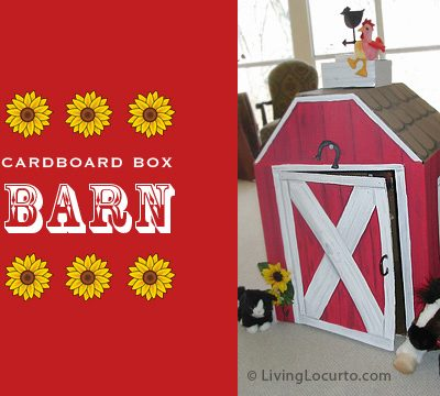 Cardboard Box Barn DIY Play House for Kids