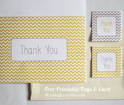Free Printable Thank You Card & Tags (Yellow Chevron)